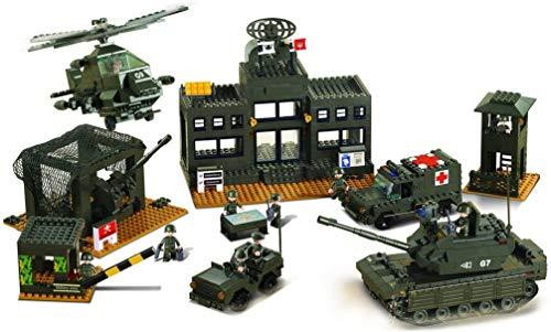 Sluban SL93861, Hauptquartier Set (1086 Teile) [M38-B7100], Spielset, Klemmbausteine, Soldaten, mit...