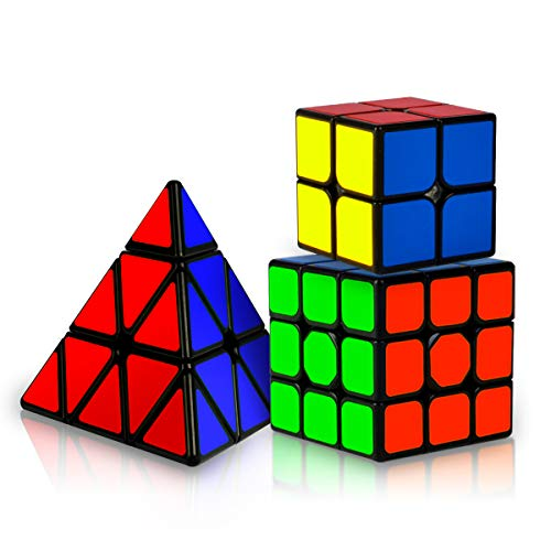 Coolzon Zauberwürfel Set, 3 Stück Speed Cube Set 2x2 3x3 Pyraminx Magic Cubes für Anfänger Kinder...