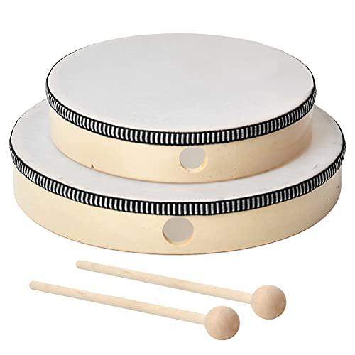 DODUOS 2er Handtrommel Trommel für Kinder, Handtrommel Holz Ø 25cm/20cm mit Schlägel, Tamburin Trommel...