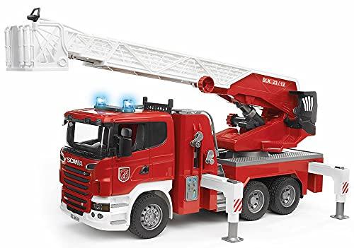 Bruder 03590 - Scania R-Serie Feuerwehrleiterwagen mit Wasserpumpe und Light and Sound Modul, inklusive...
