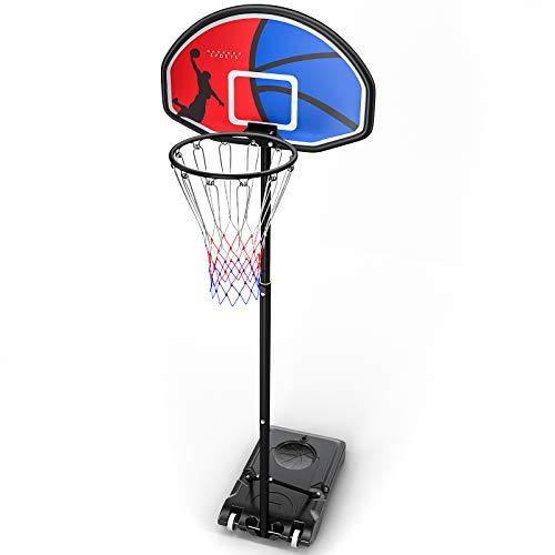 HAHAKEE Basketballständer, Höhenverstellbar Basketballkörbe 5ft to 7ft befüllbare Ständer, Rückwand...