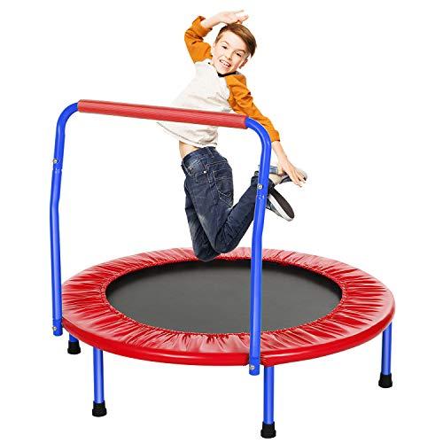 ANCHEER Kindertrampolin Trampolin Kinder Indoor Mit Haltegriff,Minitrampolin Durchmesser Ca. 91cm,...