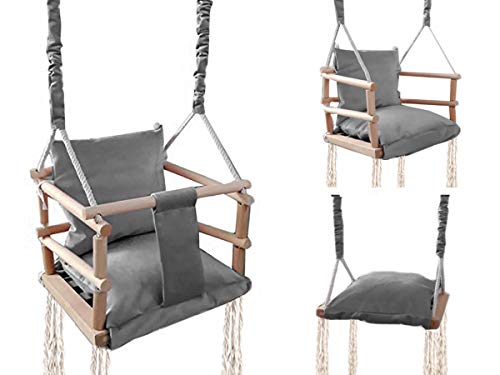 ISO TRADE Babyschaukel Kinderschaukel Holz Stoff Babysitz Baby Schaukel zum Aufhängen 3 in 1 Rosa Grau...