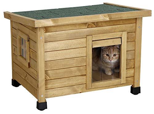 Kerbl Katzenhaus Rustica (Katzenhütte aus Holz, Schwingtüre mit Lamellen, Plexiglasfenster,...