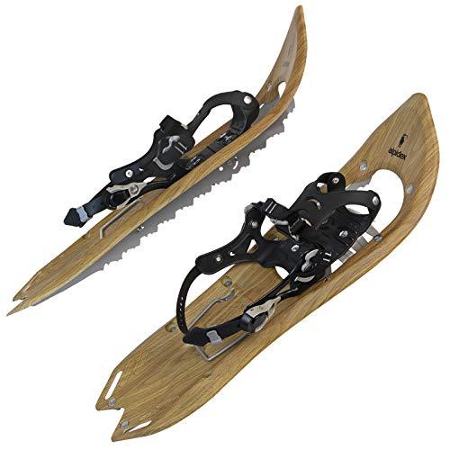 ALPIDEX Schneeschuhe Holzoptik Vintage Steighilfe Tragetasche Schuhgröße 38 bis 45 Optional Stöcke,...