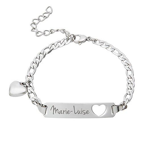 Gravado Armband aus Edelstahl mit Herz Anhänger und Karabinerverschluss, Personalisiert mit Namen, Damen...