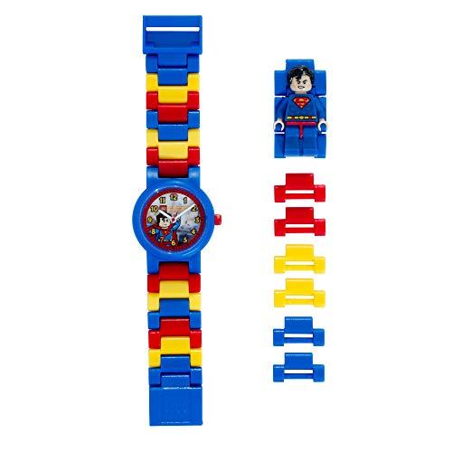 LEGO DC Comics 8020257 Super Heroes Superman Kinder-Armbanduhr mit Minifigur und Gliederarmband zum...