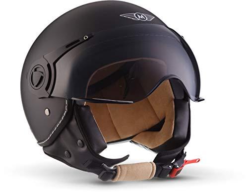 """MOTOHelmets® H44 """"Matt Black"""" · Jet-Helm · Motorrad-Helm Roller-Helm Scooter-Helm Bobber..."""