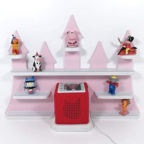 Tonie Regal, Schloß in rosa mit weißen Regalen, ideale Aufbewahrung für Tonie Box und Tonie Figuren,...