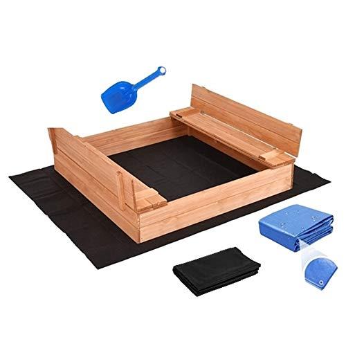Sandkasten mit Deckel Sandbox Imprägniert 120x120 Sandkiste mit Sitzbänken Holz Spielzeug