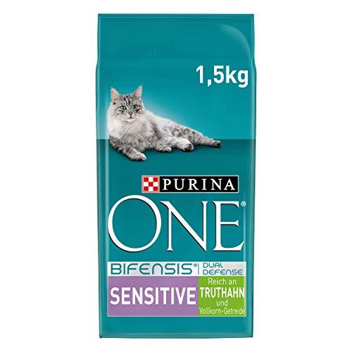 PURINA ONE BIFENSIS SENSITIVE Katzenfutter trocken, reich an Truthahn, 6er Pack (6 x 1,5kg)