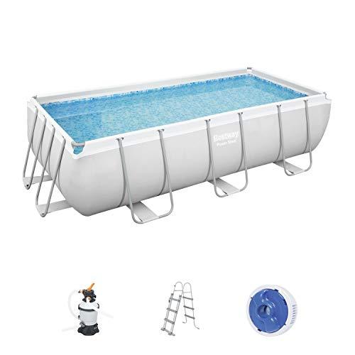 Bestway Power Steel Frame Pool, 404 x 201 x 100 cm, Komplett-Set mit Sandfilteranlage, eckig, grau