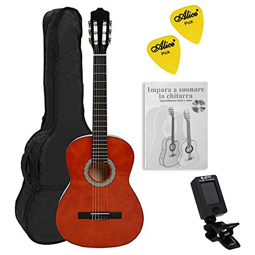NAVARREZ Konzertgitarre 1/2 Starter Set NV15PK , incl. Tasche, Buch, CD, Tuner, Plektren, honigbraun