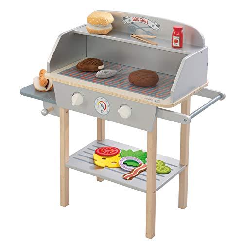 roba BBQ Grill aus Holz, mit 14-teiligem Stoffzubehör, Spielzeug Barbecue Grill für Kinder,...