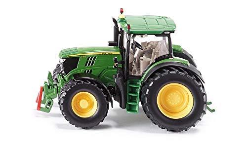 SIKU 3282, John Deere 6210R Traktor, 1:32, Metall/Kunststoff, Grün, Achsschenkellenkung und Kupplung