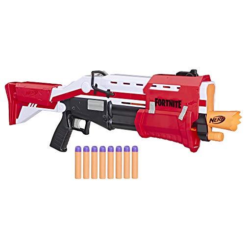 Hasbro Nerf E7065EU4 TS Pump-Action Blaster, 8 Nerf Mega Fortnite Darts, Dartaufbewahrungsfach - Für...