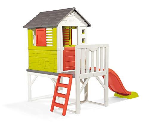 Smoby – Stelzenhaus - Spielhaus mit Rutsche, XL Spiel-Villa auf Stelzen, mit Fenstern, Tür, Veranda,...