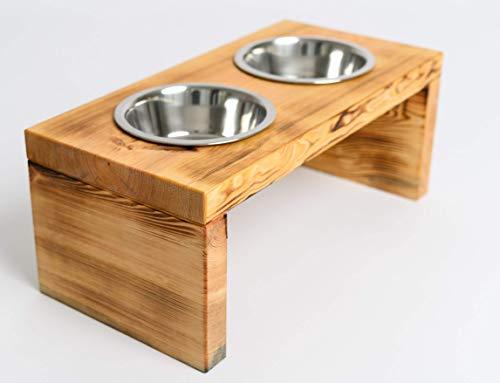 Woodworms Hundebar, Futterstation mit 2x 1,5 Liter Hundenapf, Echtholz, Rutschfest, Futterbar für...