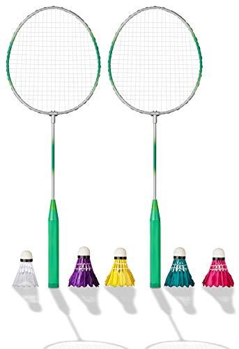 Shopping Hero Federball Basic Set 7-teilig, Ultraleichte Federballschläger 62cm, Kunststoff Federball, 4...