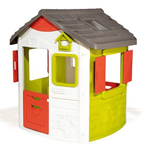 Smoby Neo Jura Lodge, Spielhaus für Kinder für drinnen und draußen, mit Fenstern, Türen, Vogelhaus,...