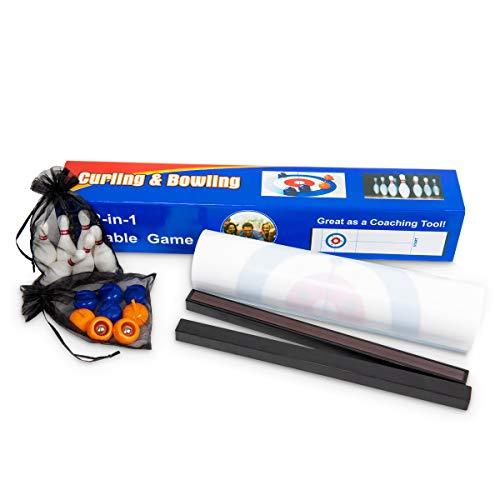 INPODAK 2-in-1 Tisch-Curling-Spiel und Bowling-Spiel, kompaktes und tragbares lustiges Brettspiel für...