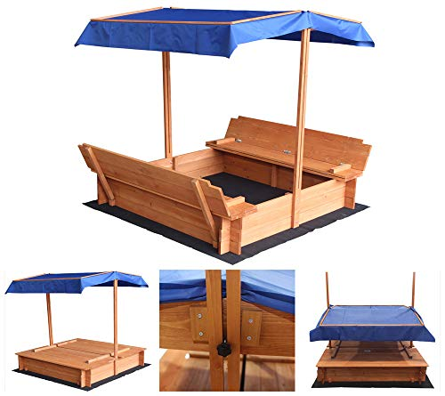 Home Deluxe - Sandkasten Buddelkiste - Mit verstellbarem Dach und Bodenplane - Maße: 130 x 120 x 120 cm...