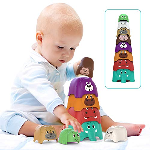 Stapelturm Baby (8er-Pack), Bunt Animal Party Stackers-Spielset, Baby toys, Lernspielzeug & Stapelspiel...