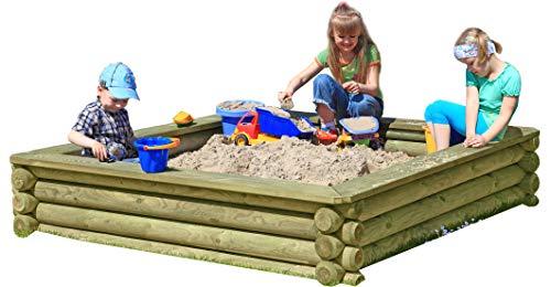 Sandkasten 180x180 cm aus Rund-Holz Ø 10cm kesseldruckimprägniert TÜV