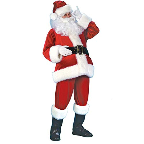 Unisex Sankt-klage Mit Bart Hut Und Gürtel Weihnachten Velvet Erwachsener Weihnachtsmann-kostüm