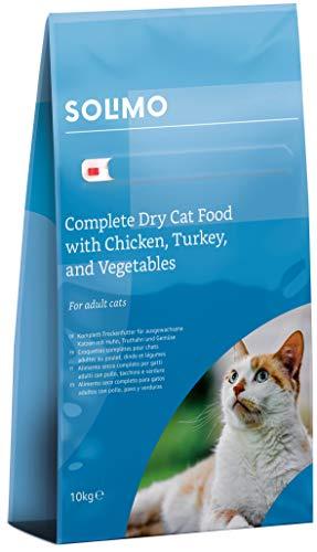 Amazon-Marke: Solimo - Komplett-Trockenfutter für erwachsene Katzen mit Huhn, Truthahn und Gemüse, 1er...