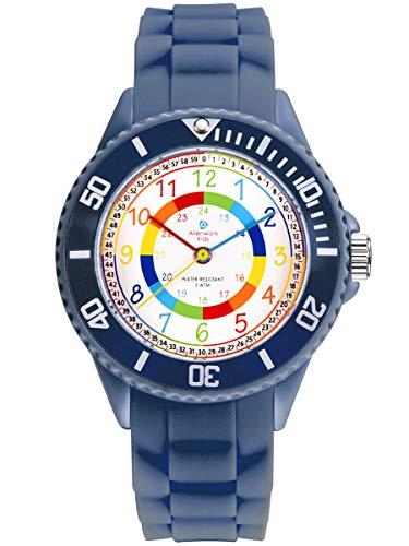 Alienwork Kids Lernuhr Kinderuhr Jungen Mädchen Marineblau Silikon-Armband Mehrfarbig Kinder-Uhr...