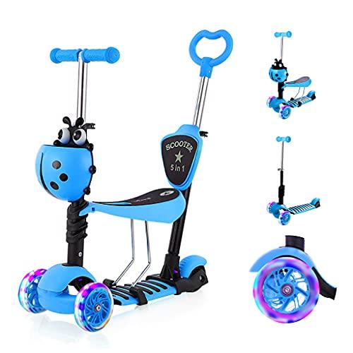 YOLEO 5-in-1 Kinder Roller Scooter mit Abnehmbarer Karikaturkorb Sitz Schubstange LED große Räder...