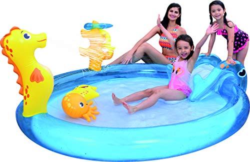 Badespaß Kinder Pool Planschbecken ca. 198cm x 175cm x 40cm Höhe ca. 15cm mit Rutsche und Spritze...