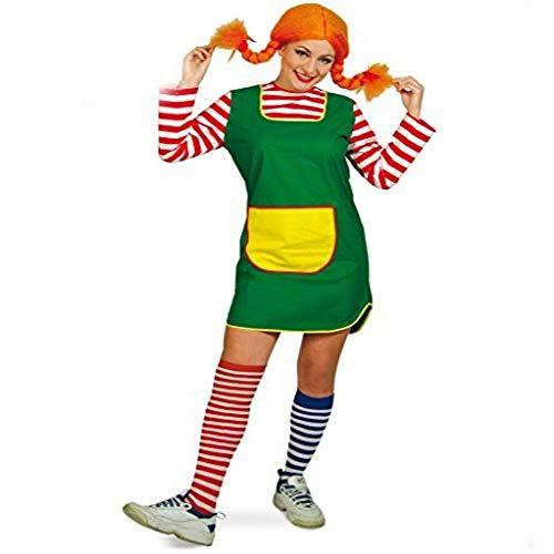 Damenkleid Karlinchen kurz grün mit rot-weiß geringelten Ärmeln gelbe Tasche Göre freches Mädchen...