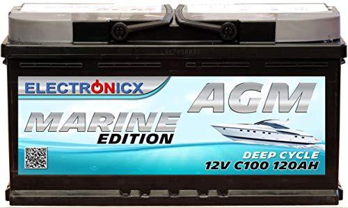 AGM Batterie 120AH Electronicx Marine Edition Boot Schiff Versorgungsbatterie 12V Akku Deep Bootsbatterie...