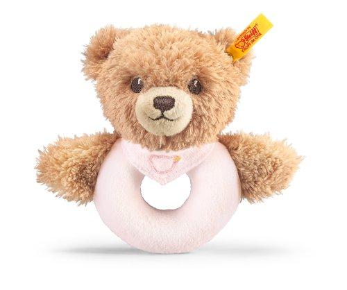 Steiff 239557 Schlaf-gut-Bär Greifring mit Rassel Plüschtier, rosa