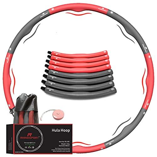 RHINOSPORT hula hoop reifen erwachsene anfänger 1,2 kg rot abnehmen kinder, hula-hoop-reifen mit...