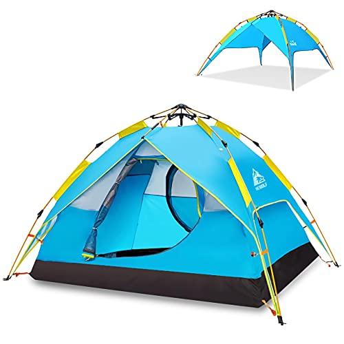 HEWOLF Pop Up Zelt 2-3 Personen Wurfzelt Leichtes Campingzelt Sofortiges Aufstellen Kuppelzelt...