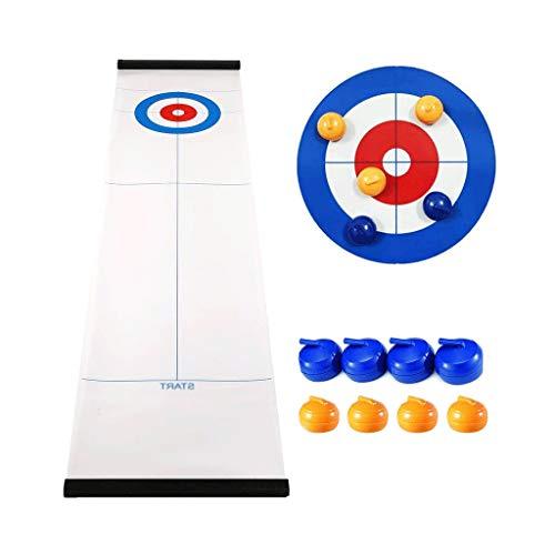 YYL Schnelles Sling Puck Spiel Tisch-Curling-Spiel Kompaktes Curling-Brettspiel mit 8 Rollen für Kinder...