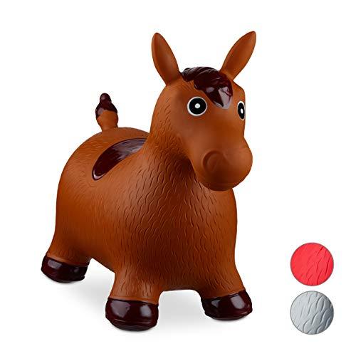 Relaxdays 10024991_93, braun Hüpftier Pferd, inklusive Luftpumpe, Hüpfpferd bis 50 kg, Hüpfpony BPA...
