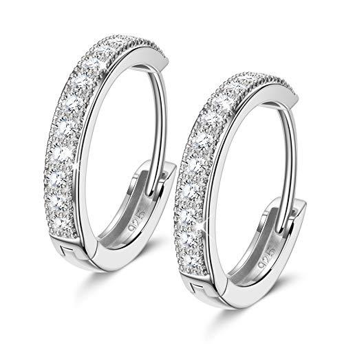 NINAMISS Ohrringe Silber 925, Ohrringe Creolen mit AAA Zirkonia, Geschenke für Frauen, Ohrringe...
