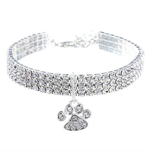 CMXUHUI Katzenhalsband exquisites Aussehen Pet Collar Katze Fußabdrücke Kragen Mann Made Diamant Inlay...