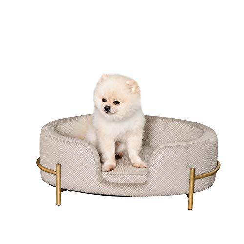 Pawhut Hundesofa Haustiersofa Katzensofa Metallbeinen Rückenlehne Weichem Bezug 64 x 40 x 24 cm Grau