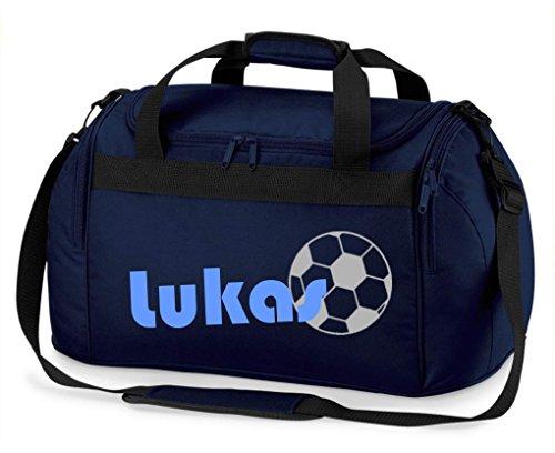 Sporttasche mit Namen | inkl. NAMENSDRUCK | Motiv Fußball | Personalisieren & Bedrucken | Reisetasche...