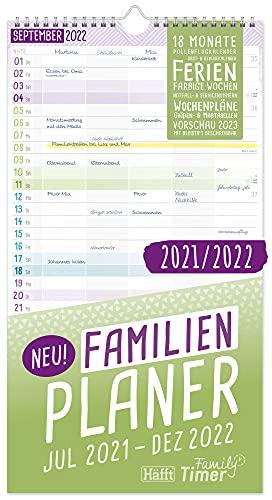 FamilienPlaner 2021/2022 mit 5 Spalten, 23 x 42 cm | Wandkalender für 18 Monate: Jul 21 - Dez 22 |...
