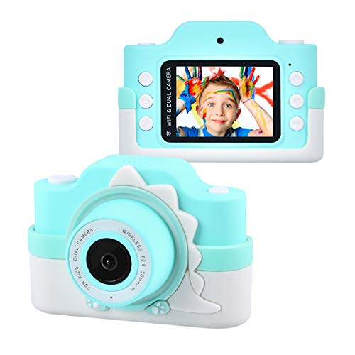 Tyhbelle WiFi Kinderkamera mit Cartoon-Schutzhülle 24 Megapixel HD Digital Kamera 2.0' IPS HD-Bildschirm...