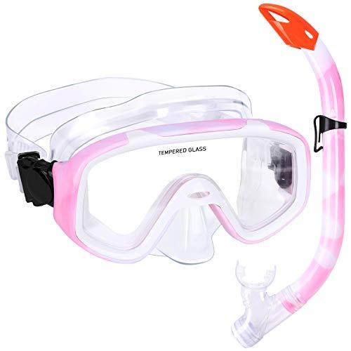 Kinder Schnorchelset Schnorcheln Taucherbrille mit 180° Panorama Sichtfeld Tauchmaske Schnorchelmaske...