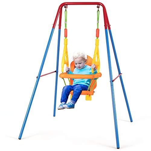 GOPLUS Kinderschaukel Babyschaukel Babyschaukelsitz mit Sicherheitsgurt Schaukelgerüst Schaukelgestell...