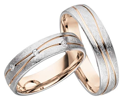 JC Trauringe Silber 925 Paarpreis Eheringe Rotgold Weißgold Plattiert 5,0 mm breit I Partnerringe mit...