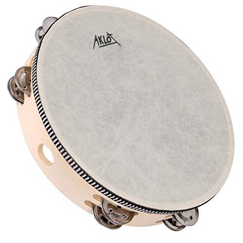 AKLOT 10'Tamburin Handtrommel 8 Paar zweireihige Metallglocke Jingles Buche Schlagzeug Musical...